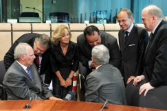 Eurogroup finance ministers talk before signing a treaty establishing the European Stability Mechanism in Brussels