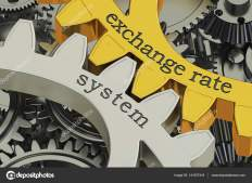 exchange rate system concept on the gearwheels, 3D rendering